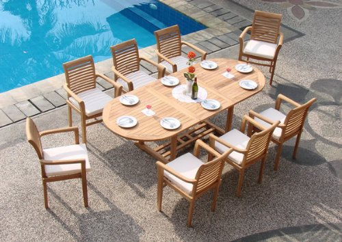 Stylish 9-Piece Grade-A Teak Dining Set teak garden furniture sets