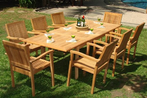 Stylish 9-piece-teak-dining-set teak wood outdoor furniture