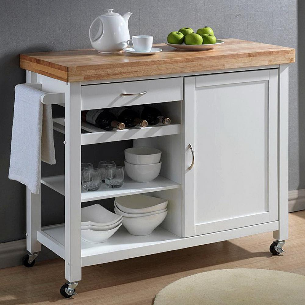 Stylish Denver White Kitchen Cart with Butcher Block Top kitchen carts and islands