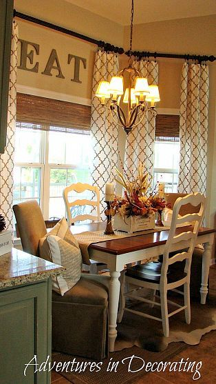 Stylish *French Country* Breakfast Area - I love the long curtains with the french country curtains
