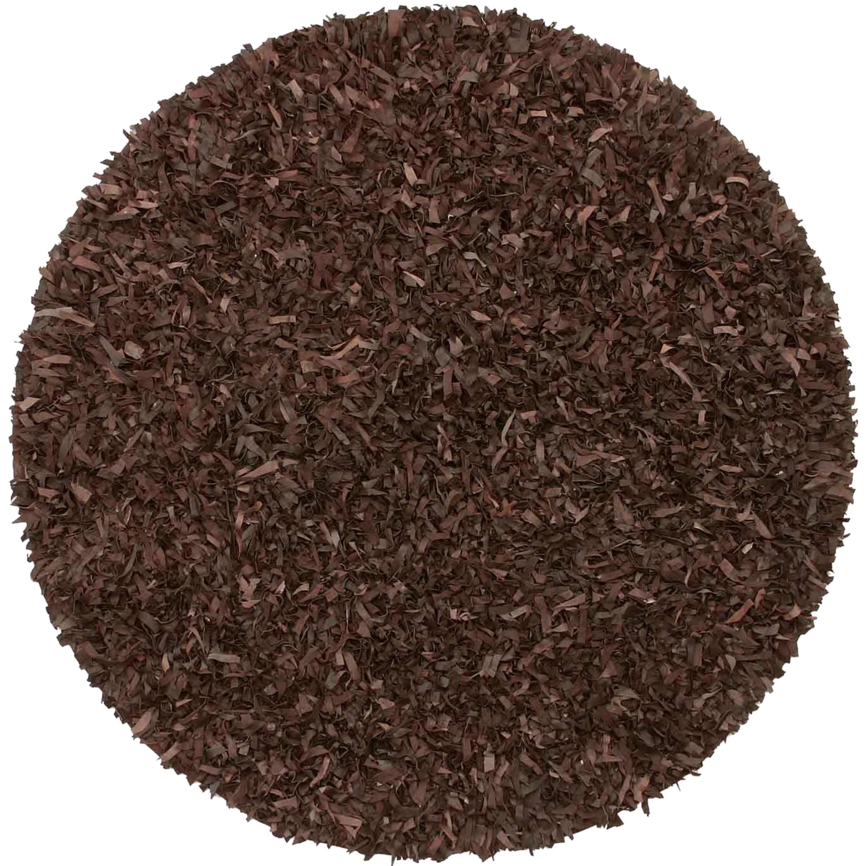 Stylish Hand-tied Pelle Brown Leather Shag Rug (4u0027 Round) round shag rug