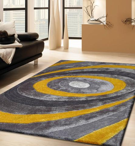Stylish Handmade Gray u0026 Yellow 3 Dimensional Shag Area Rug with Hand Carved Design plush area rugs for living room
