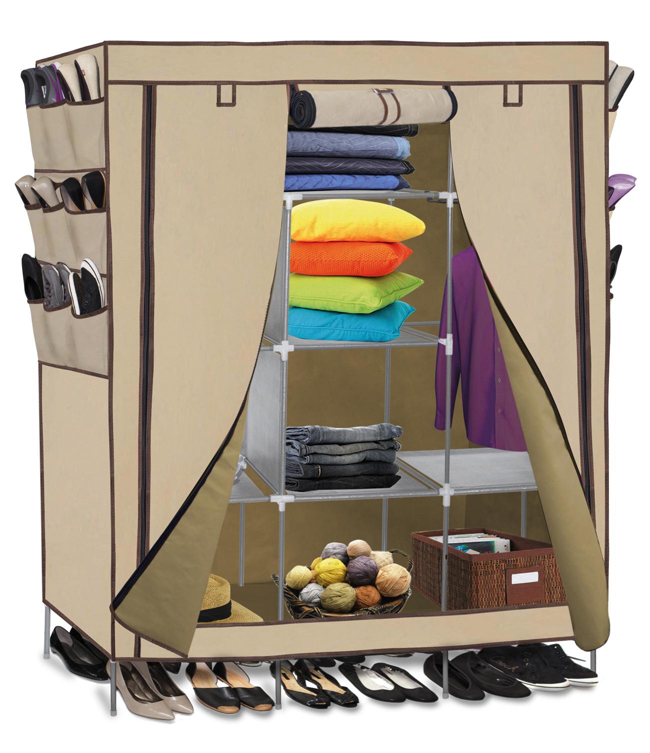 Stylish OxGord Portable Storage Organizer Wardrobe Closet u0026 Shoe Rack, Customizable  Shelves, portable wardrobe closet