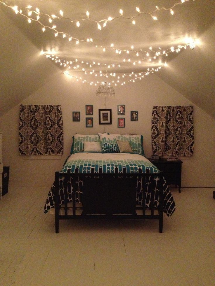 Elegant Teenage Bedroom, black, white and teal with Christmas lights and One  Direction teenage bedroom lighting ideas