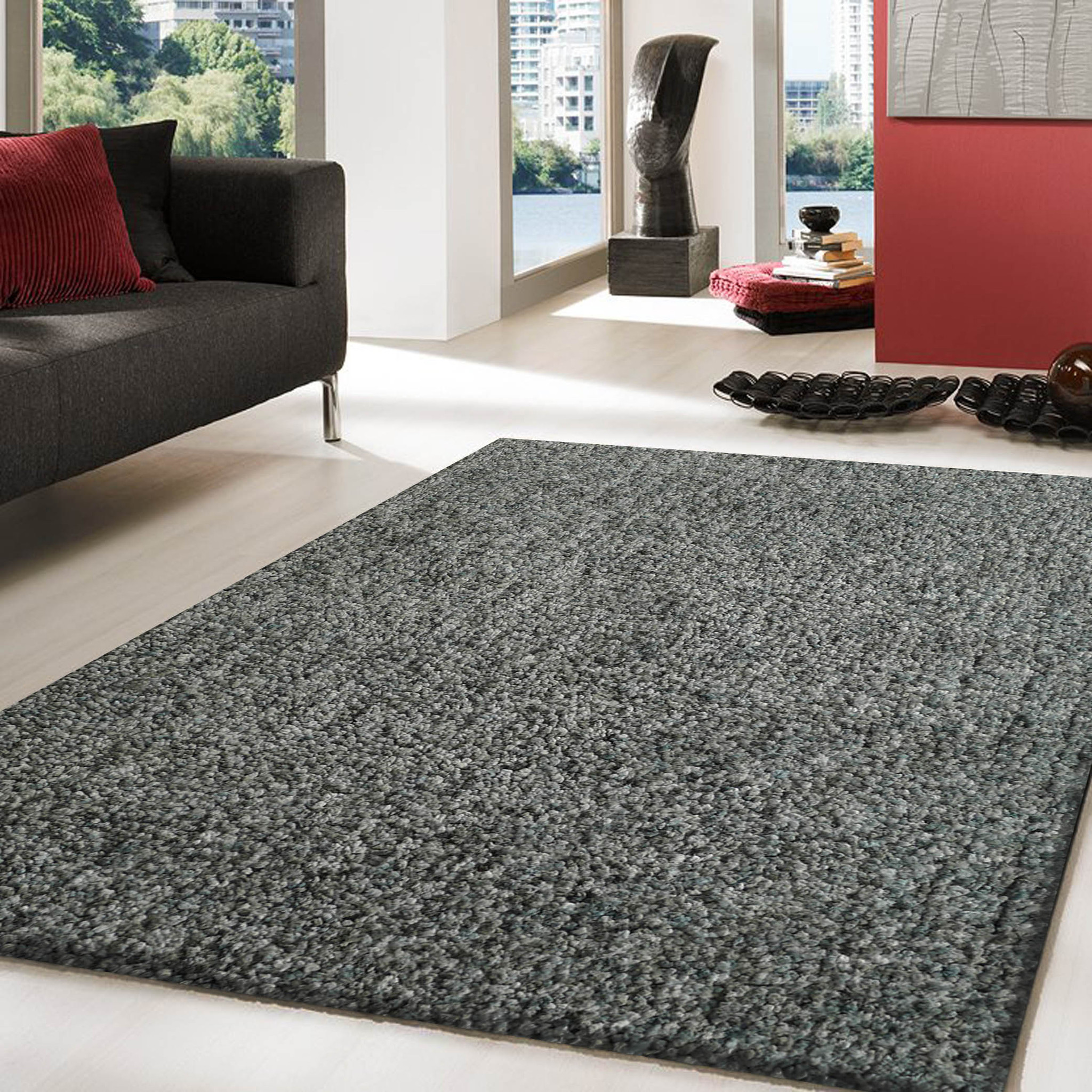 Elegant Hand-tufted 2Tone Blue Thick Plush Shag Area Rug 5u0027 x 7u0027 ft thick plush area rugs