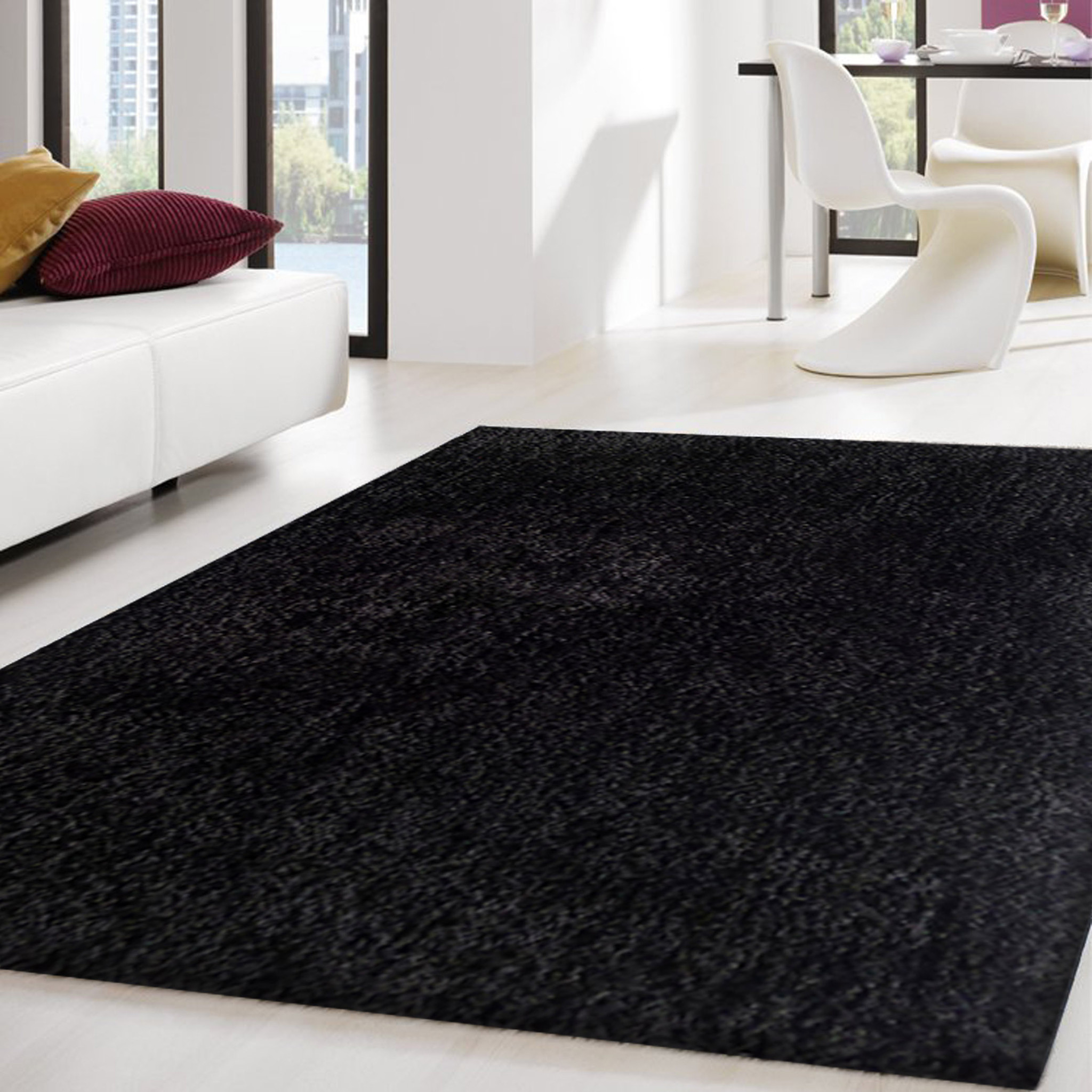 Trending 2-Piece Set | Solid Black Thick Plush Shag Area Rug with Rug Pad thick plush area rugs
