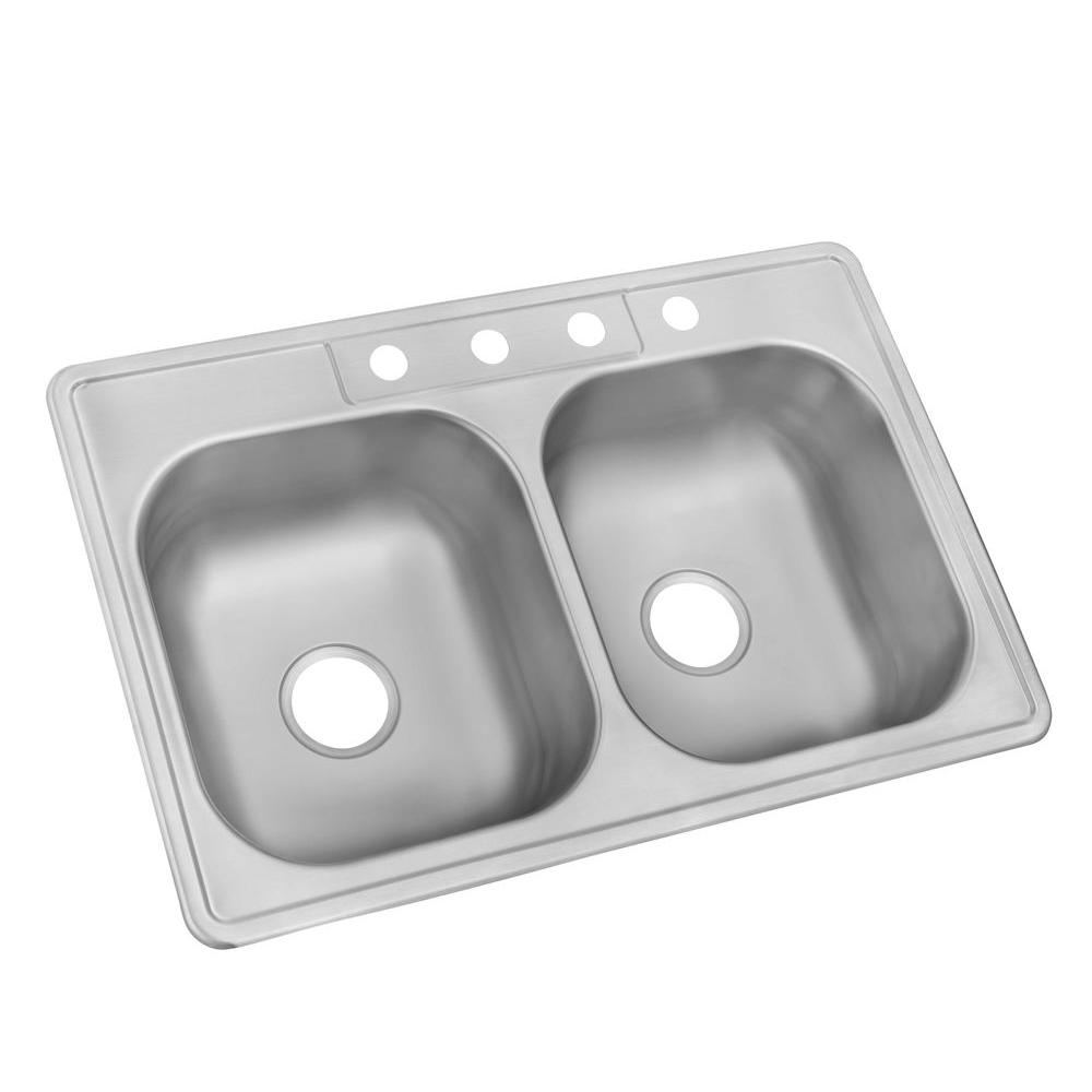 Trending Drop-In Stainless Steel 33 in. 4-Hole Double Basin Kitchen Sink kitchen sinks stainless steel