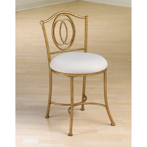 Trending Emerson Golden Bronze Vanity Stool with Linen Fabric bathroom stools and chairs