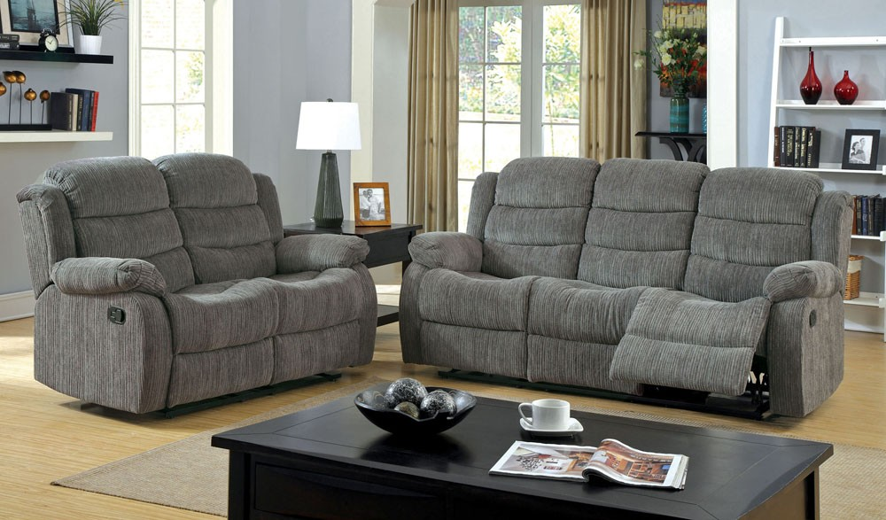 Trending Michael Grey Chenille Recliner Sofa grey chenille sofa