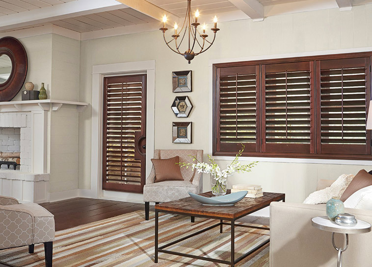 Trending Natural Dark Family Room Wood Shutters wooden shutter blinds