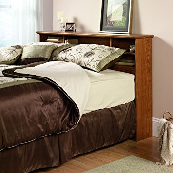 Trending Sauder Orchard Hills Bookcase Headboard, Full/Queen, Carolina Oak Finish queen bed with bookcase headboard