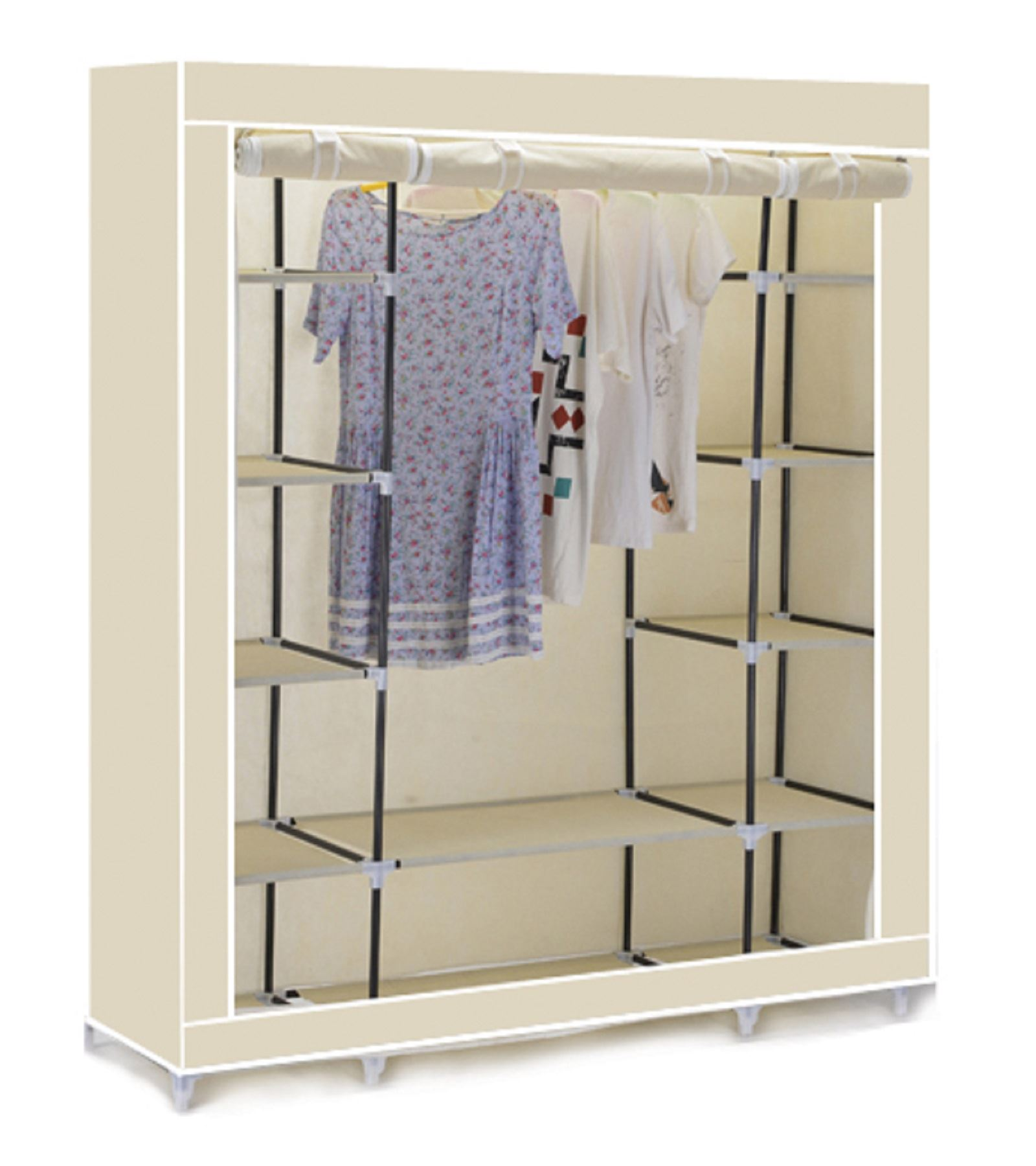 Amazing Vinsani-Triple-Canvas-Clothes-Wardrobe-Hanging-Rail-With- triple canvas wardrobe