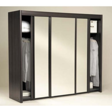 Modern Parisot Carla Sliding Triple Mirrored Wardrobe in Wenge triple mirrored wardrobe
