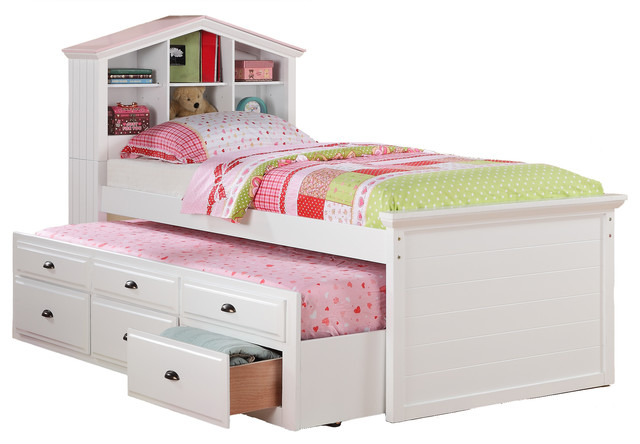 Trending Kids Twin Storage Captain Bed W/Bookcase Headboard/Trundle Drawer, White  modern- twin bed with storage for kids
