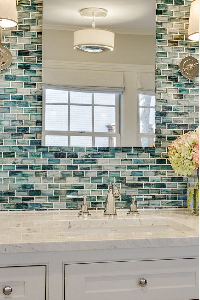 Unique Bathroom wall accent. The wall tile is from Complete Tile Collection - tiling bathroom walls ideas