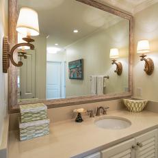 Unique Coastal Master Bathroom With Wood Framed Mirror large framed bathroom mirrors