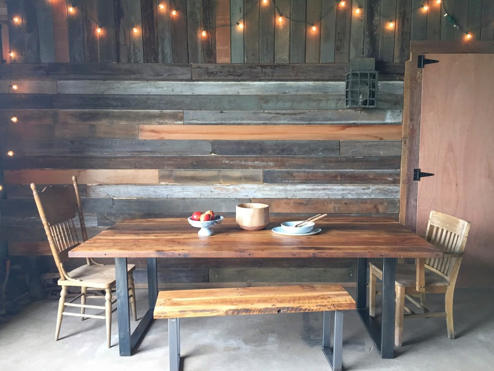 Unique Industrial Modern Dining Table / U-Shaped Metal Legs reclaimed wood dining table with metal legs