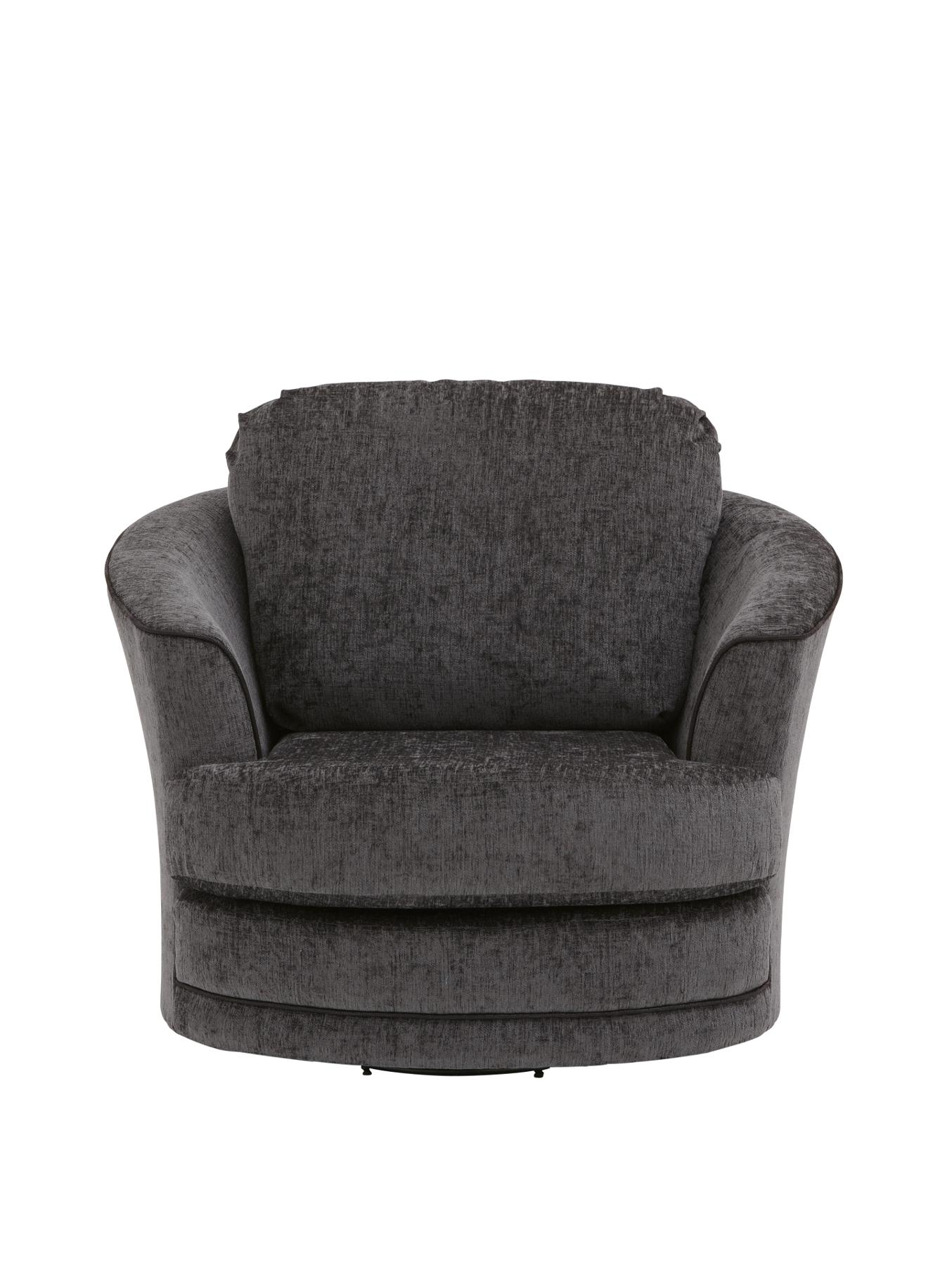 Unique Loco Small Swivel Armchair, Grey/black,chocolate/mink | Linkfish small swivel armchair