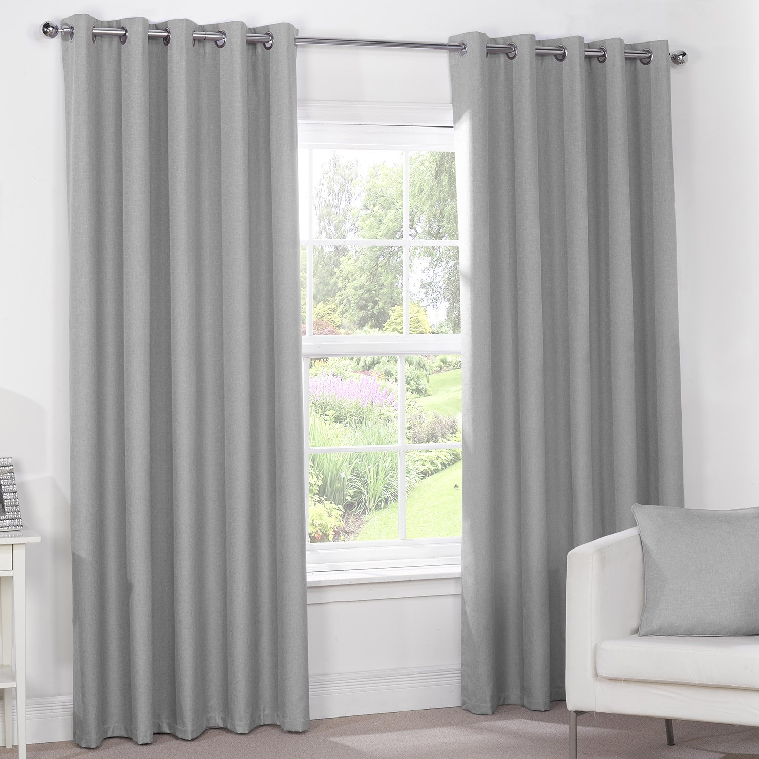 Unique Luna Silver Grey Luxury Blackout Eyelet Curtains (Pair) silver eyelet curtains