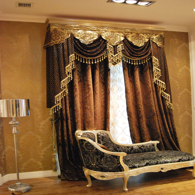 Unique Luxury europe 2013 fashion classical style elegant chenille silver custom  made curtains curtain valances for living room