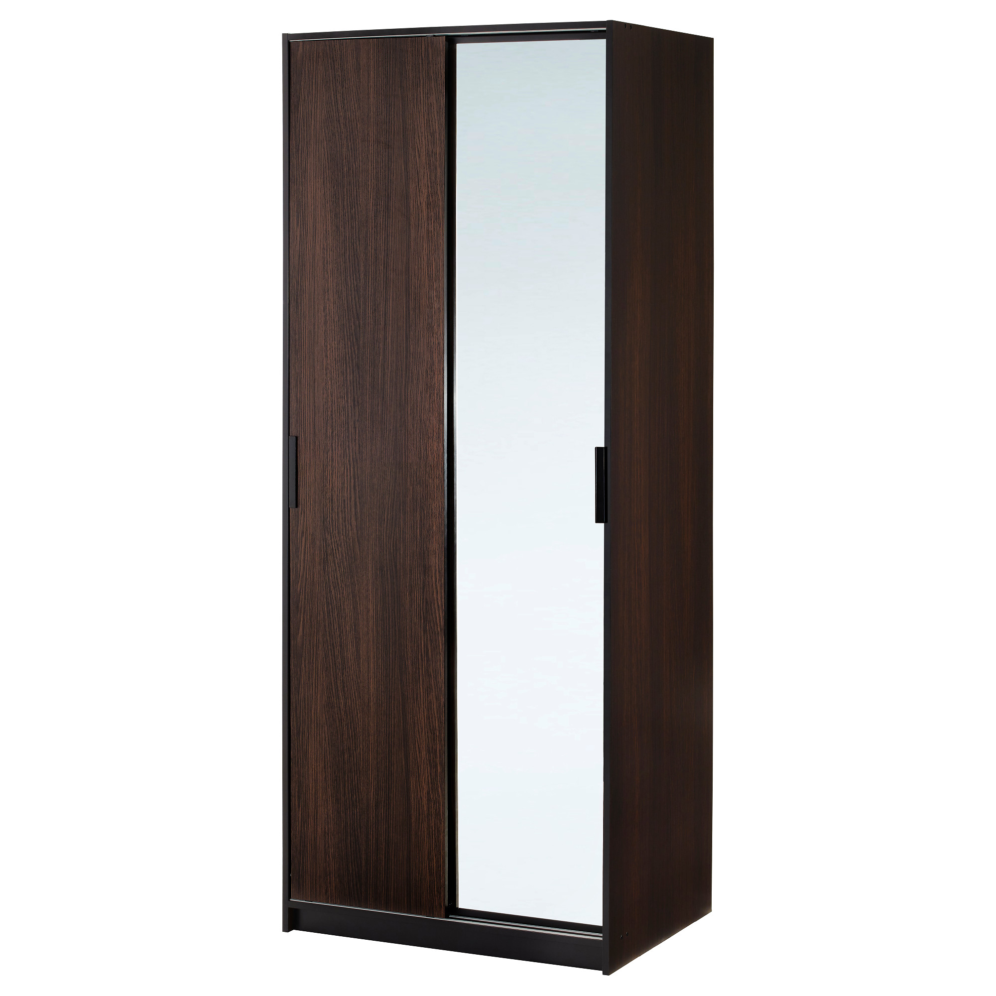Unique TRYSIL wardrobe, dark brown, mirror glass Width: 31 1/4  portable wardrobe closet