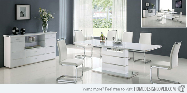 Simple ... Inspirations White Contemporary Dining Room Sets Refreshingly Neat White  Dining white contemporary dining room sets