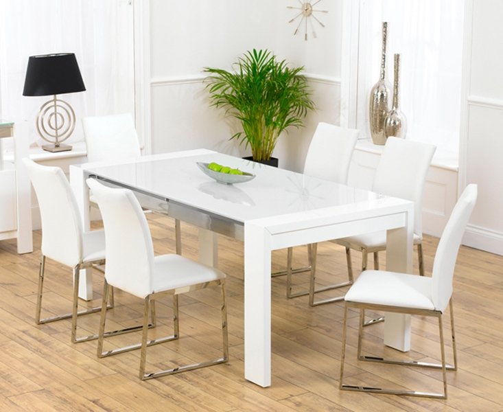 Chic Wonderful White Gloss Dining Table And Chairs Modern Dining Room Sets For white gloss dining table