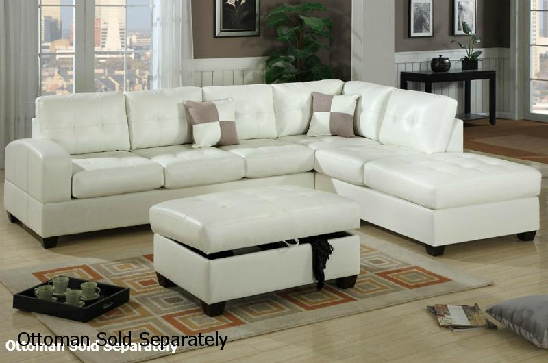 Popular Reese White Leather Sectional Sofa white leather sectional sofa