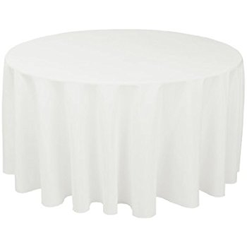 Chic LinenTablecloth 120-Inch Round Polyester Tablecloth white linen table cloths