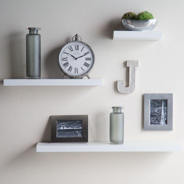 Images of Hudson Easy Mount Floating Shelves - 3 pk. (36 white wall shelves