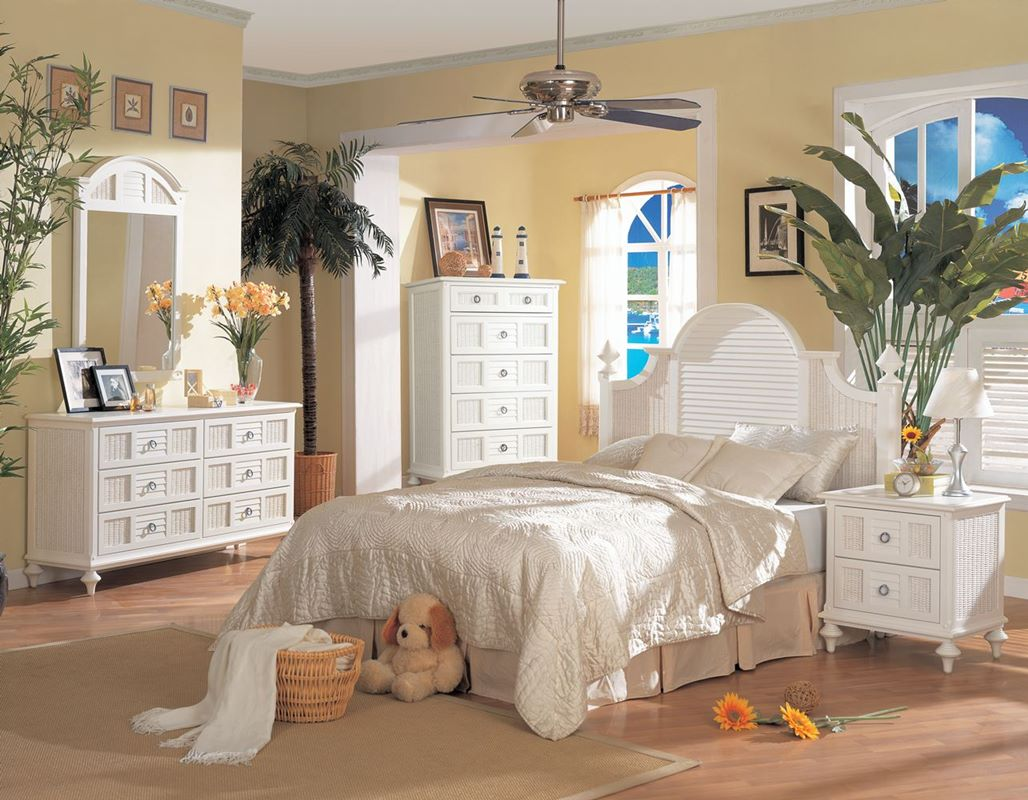 Chic 7 - Code: B349 Key West Collection from Seawinds Trading white wicker bedroom furniture