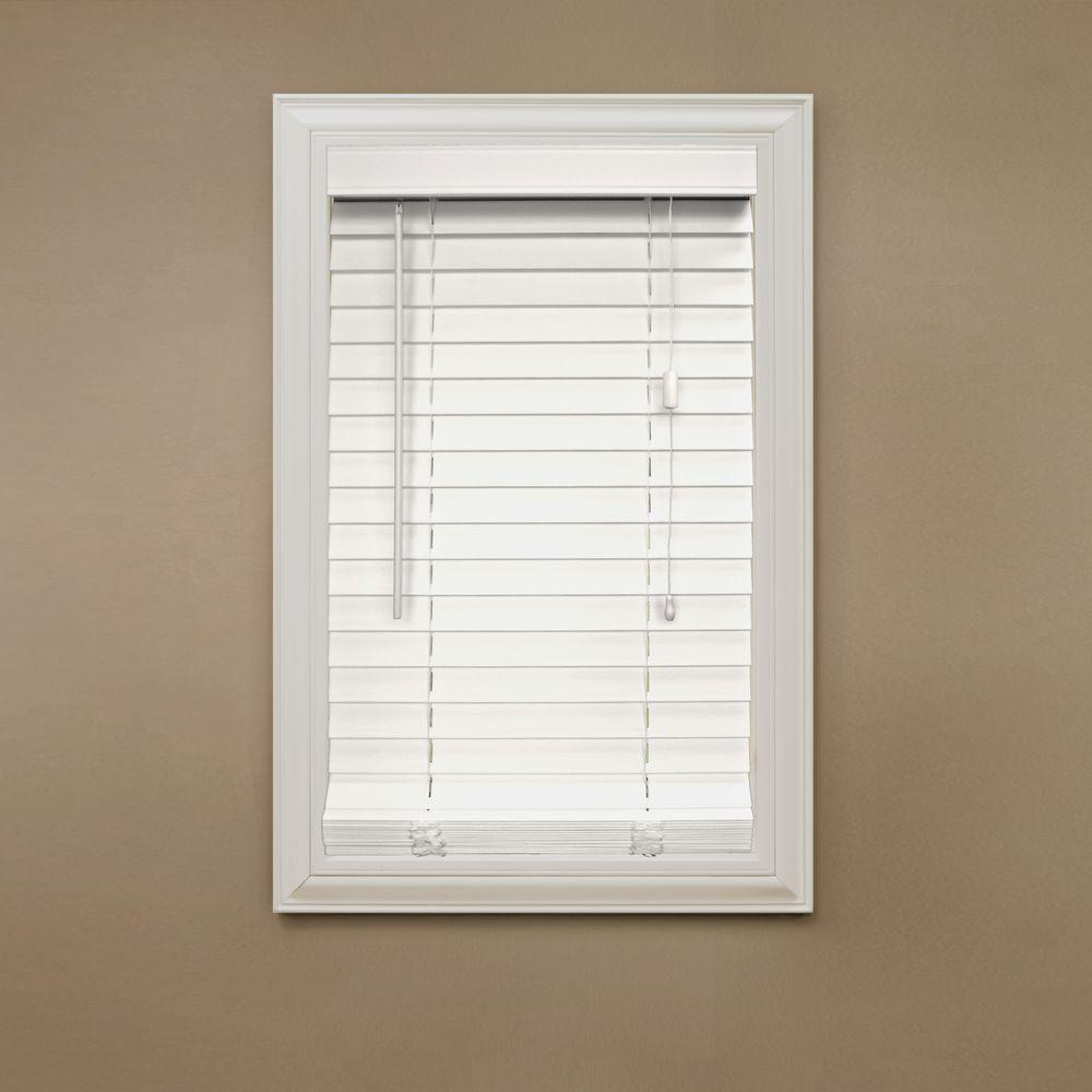 Stylish Home Decorators Collection Cut-to-Width White 2 in. Faux Wood Blind - white wooden blinds