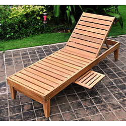 Elegant Deluxe Teak Chaise Lounge with Tray wood chaise lounge outdoor