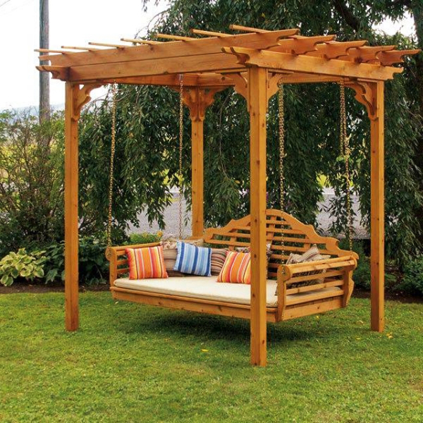 Luxury Garden swing under a small wooden pergola near trees wooden garden swings for adults