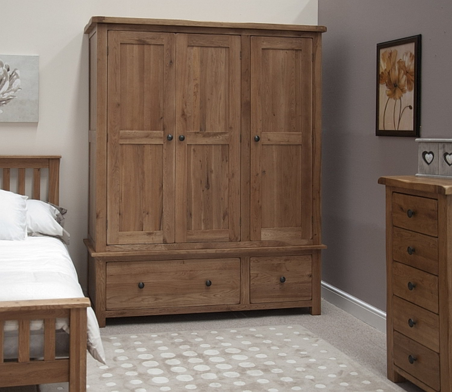 Cool Chatsworth Solid Oak Bedroom Furniture Triple Wardrobe With Drawers wooden wardrobe with drawers