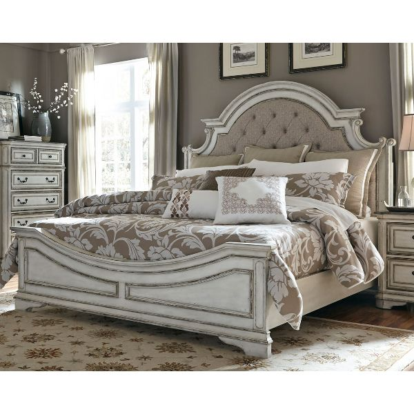 ... antique white traditional upholstered king size bed - magnolia manor TRJUKZV