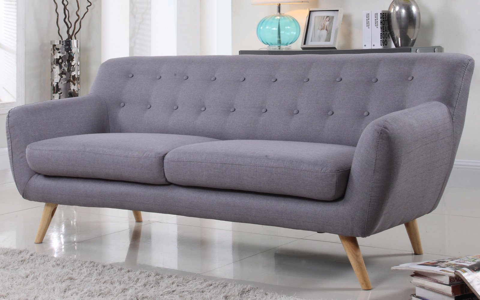 ... nico mid century modern fabric sofa in light grey ... XTPZREF
