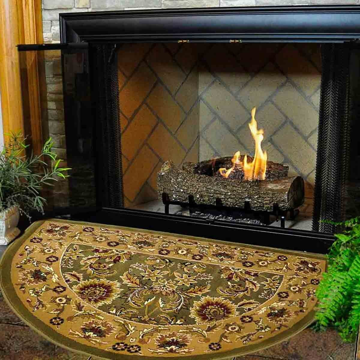 46u0027u0027 half round green and taupe kashan hearth rug UPTHCXB