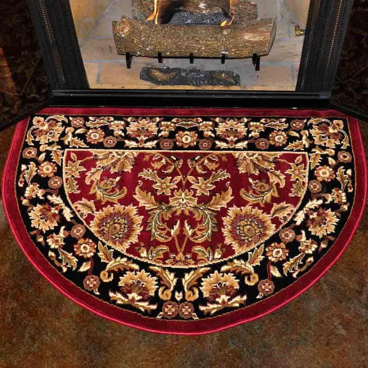 46u0027u0027 half round red and black kashan hearth rug SSYIARJ