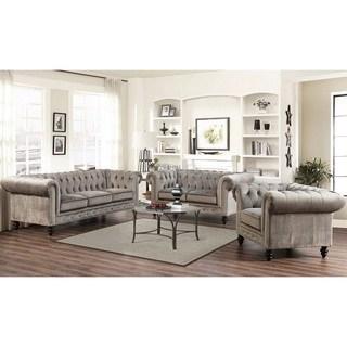 abbyson grand chesterfield grey velvet 3 piece living room set UBNFTSL