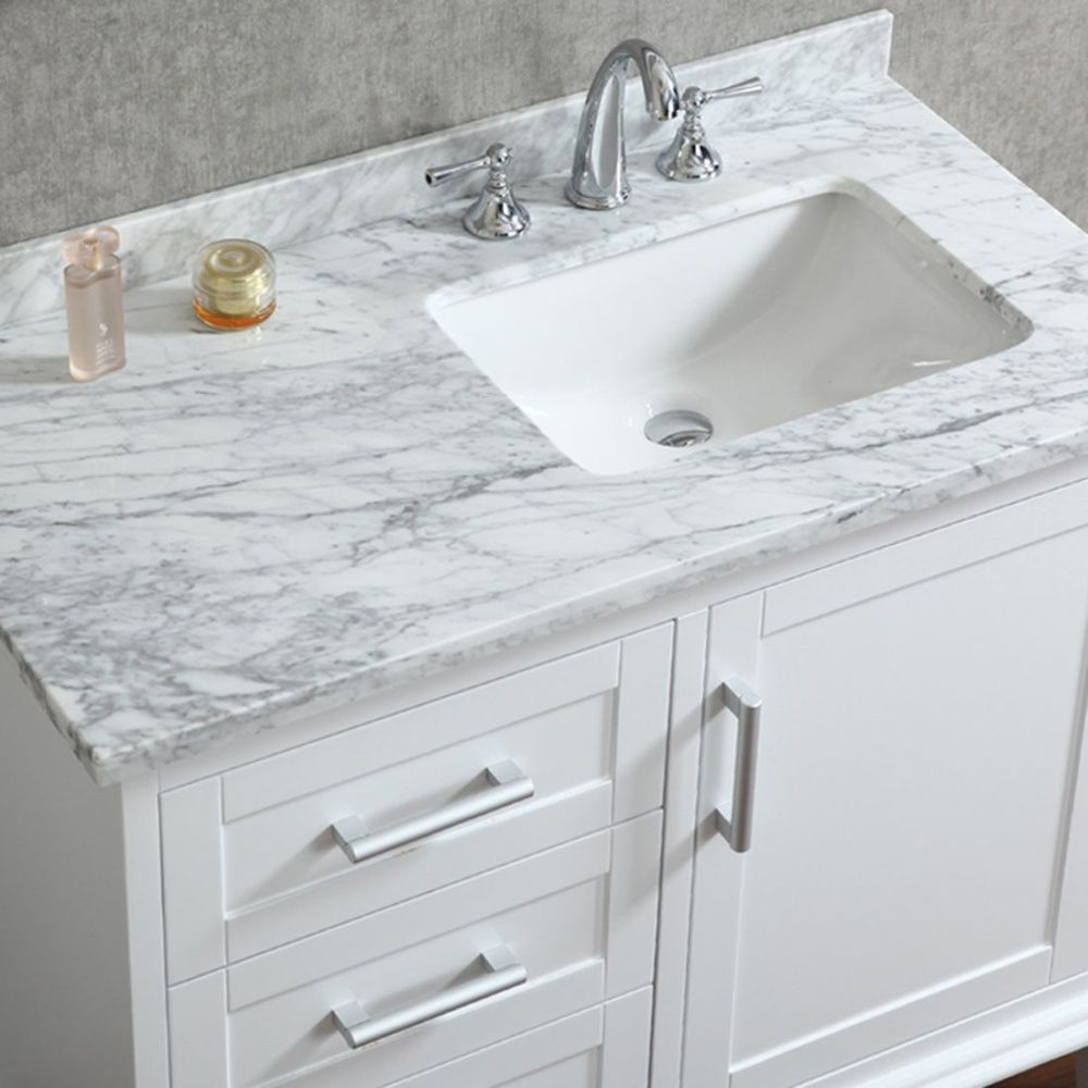 ace 42 inch single sink white bathroom vanity with mirror BWGUOYV