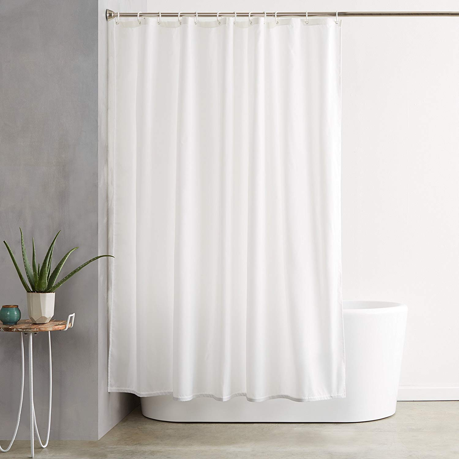 amazon.com: amazonbasics shower curtain with hooks (treated to resist  deterioration DVOURBJ