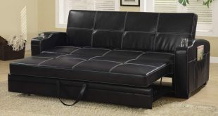 amazon.com: coaster contemporary black faux leather sofa bed with storage LBEBGYK