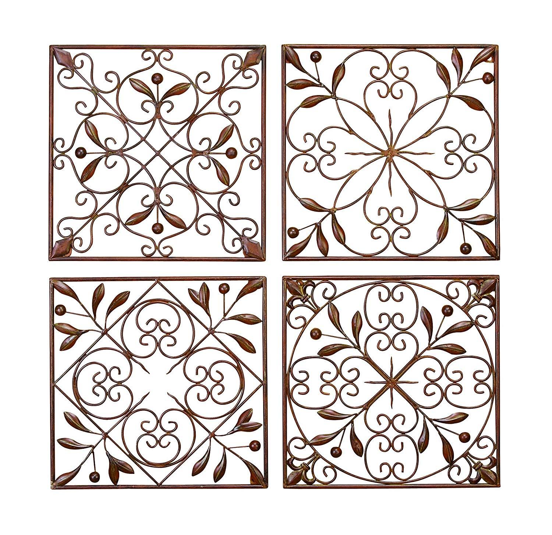 amazon.com: deco 79 50035 metal wall decor set of 4: home XJFBKFH