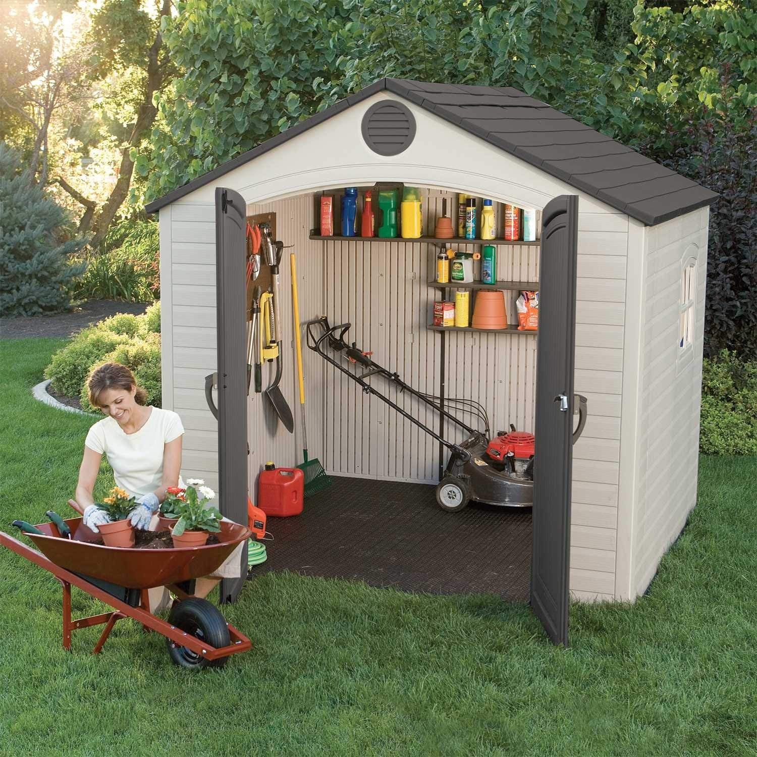 amazon.com : lifetime 6411 outdoor storage shed with window, 8 by KPNQFFR