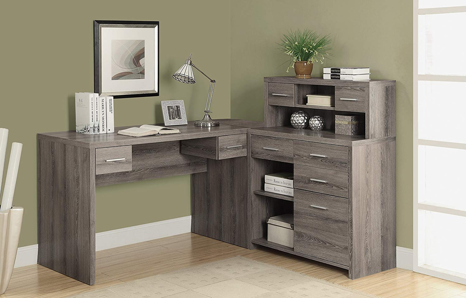 amazon.com: monarch reclaimed-look l shaped home office desk, dark taupe: ARZDOGN