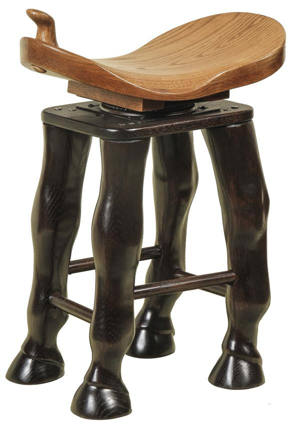 amish saddle stool with carved horse legs swivel seat OYBSVQT