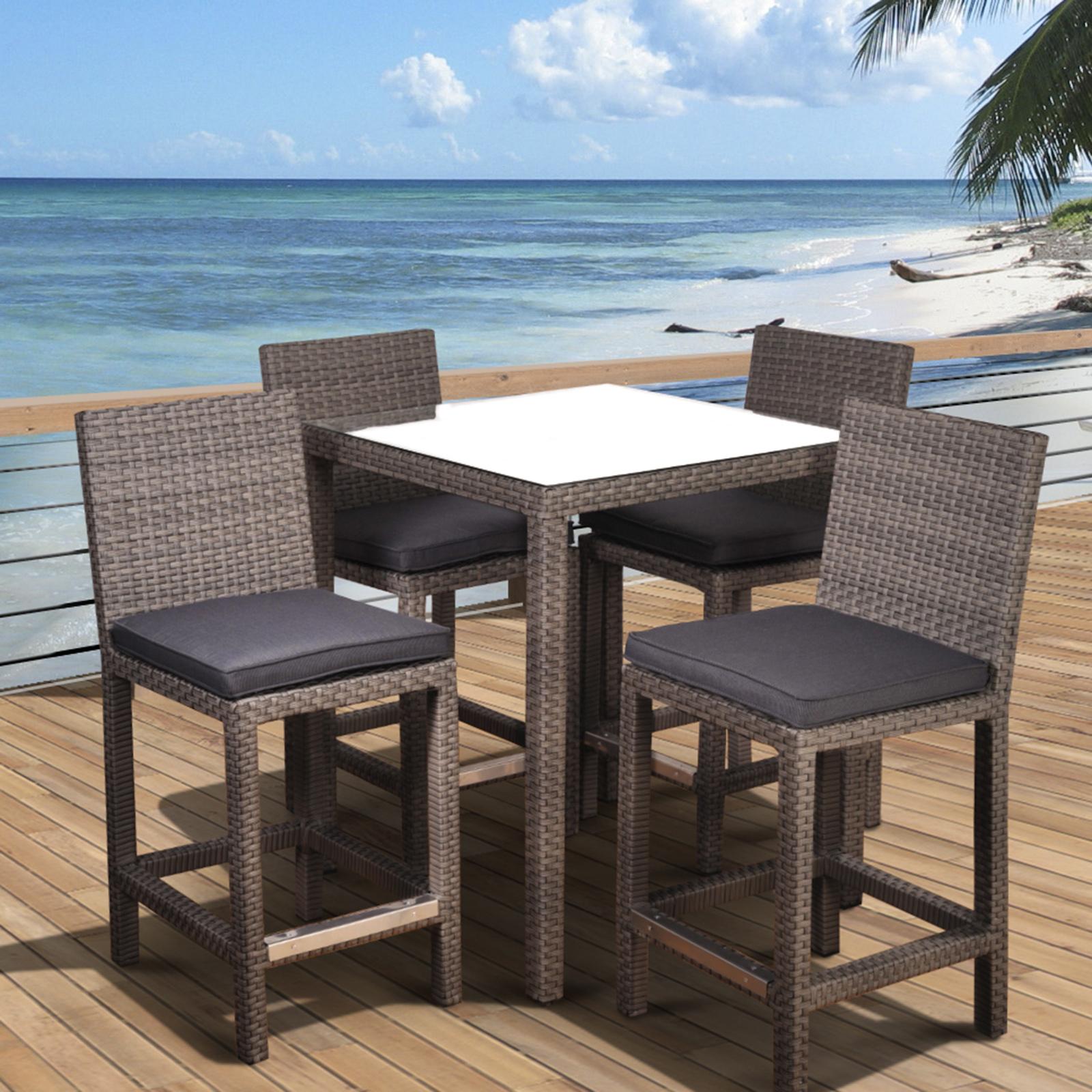 atlantic abaco square 5 piece synthetic wicker patio bar set grey EBUUROS