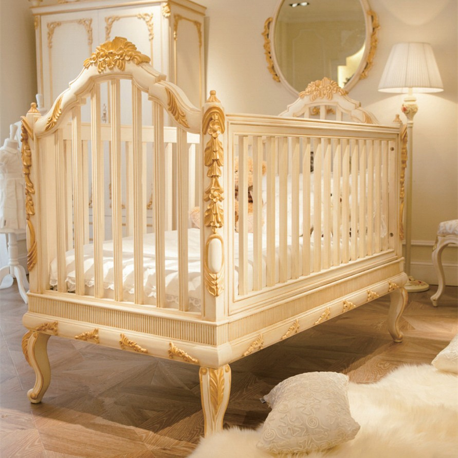 baby cribs luxury wooden baby crib,royal golden hand carving new born baby cot JFGRCVL