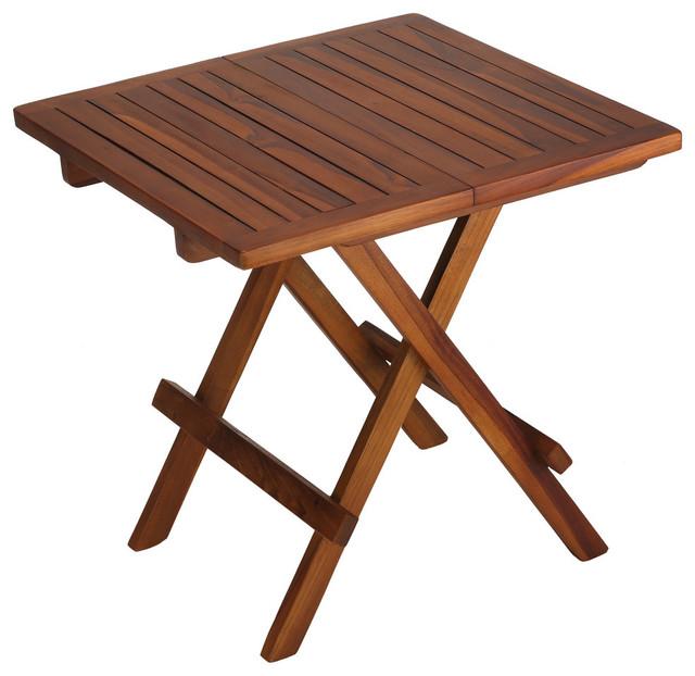 bare decor ravinia folding teak small table, oiled finish TRFFFBD